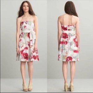 BANANA REPUBLIC Dress Strapless Magenta Floral